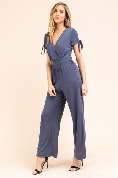 Tie Sleeve Surplice Jumpsuit