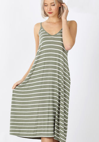 V-Neck Cami Dress - Light Olive