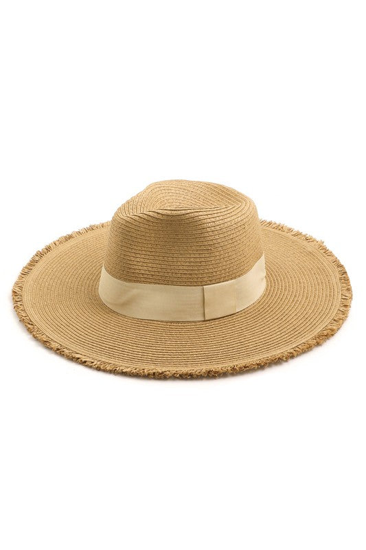 Straw Weave Sun Hat - Tan with Ivory Band