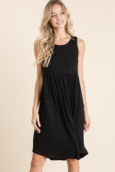 Casual Sleeveless Dress - Black