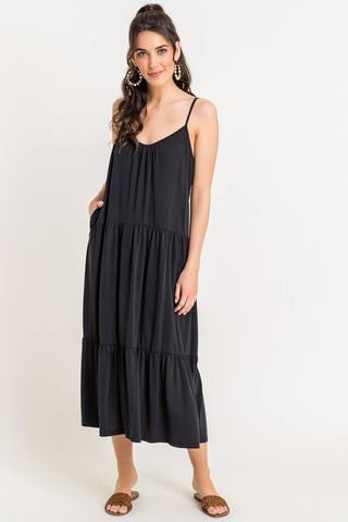 Knit Tiered Midi Dress - Black