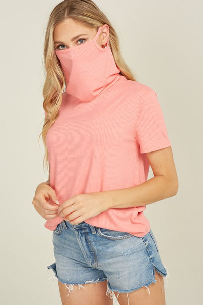 Ribbed Shirt with Built-In Mask