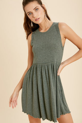 Sleeveless Mini Dress - Heather Green