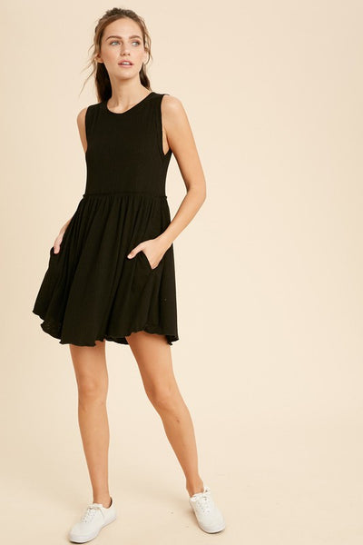 Sleeveless Mini Dress - Black