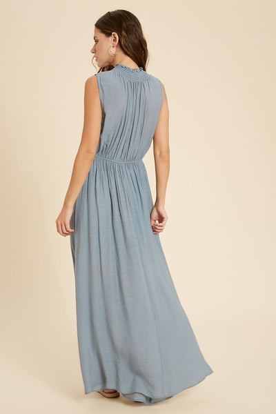 Smocked Neck Maxi Dress - Cloud