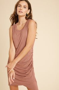 Side Ruched Mini Dress - Burl Wood