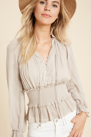 Smocked Collar Blouse - Natural Sand