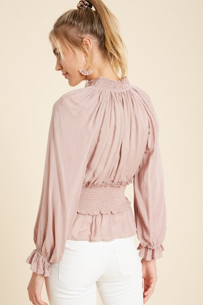 Smocked Collar Blouse - Dusty Mauve