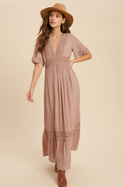 Crochet Lace Trim Maxi Dress - Mauve
