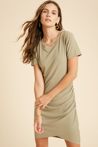 Ribbed Ruched Mini Dress - Light Olive