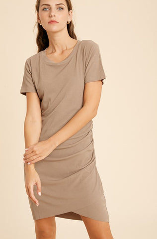 Ribbed Ruched Mini Dress - Mocha