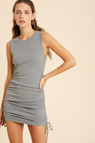 Ribbed Side Shirred Mini Dress - Heather Grey
