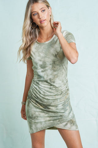 Harmony Tie Dye Dress - Olive