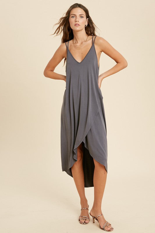 Cross Back Surplice Midi Dress - Charcoal