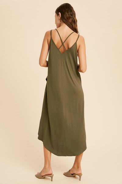 Cross Back Surplice Midi Dress - Olive