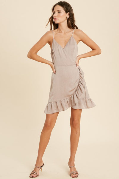 Satin Ruffle Wrap Mini Dress - Mink