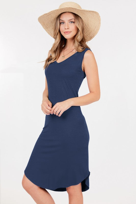 Basic Midi Dress - Navy