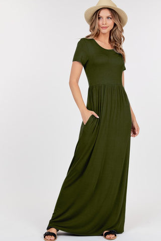 Short Sleeve Empire Waist Dress - Olive