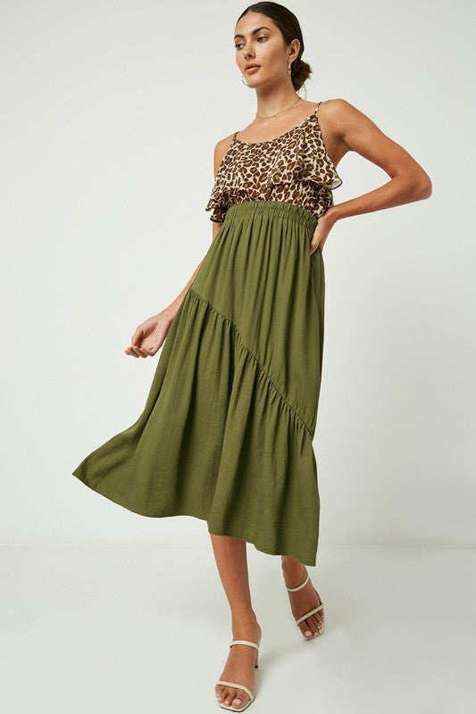 Asymmetric Seam Midi Skirt