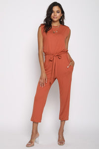 Shoulder Pad Jumpsuit - Rust