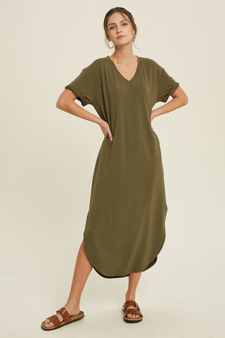 Loose Fit Midi Dress - Olive