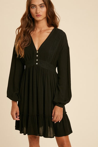 Lace Button Dress - Black