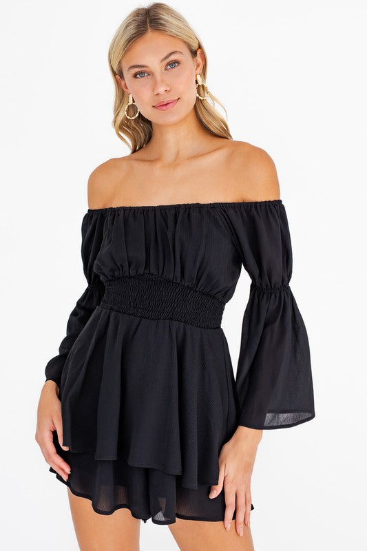 Bell Sleeve Layered Romper