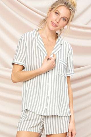 Gabriella Striped PJ Set - Black
