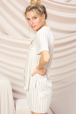 Gabriella Striped PJ Set - Sand