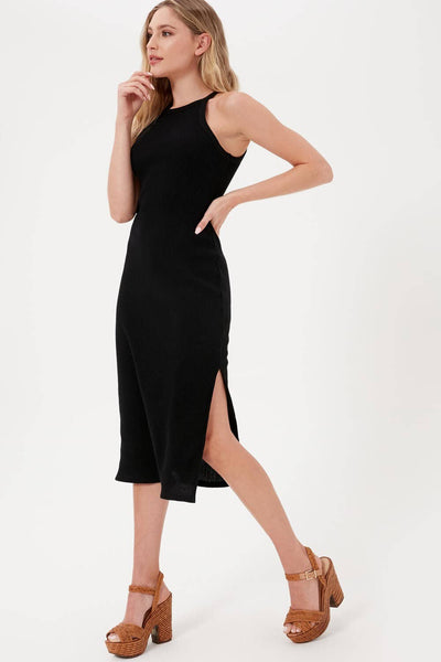 Sleeveless Ribbed Midi Dress - Black