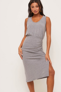Side Ruched Midi - Grey