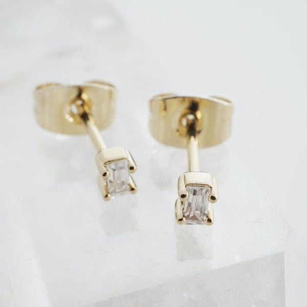 18k Gold Dipped Crystal Baguette Studs