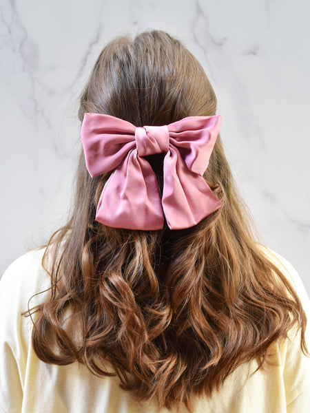 Oversized Bow Barrette - Navy
