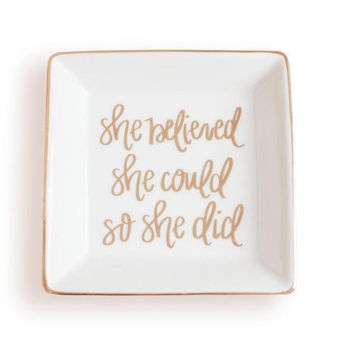 She Believed Jewelry Dish