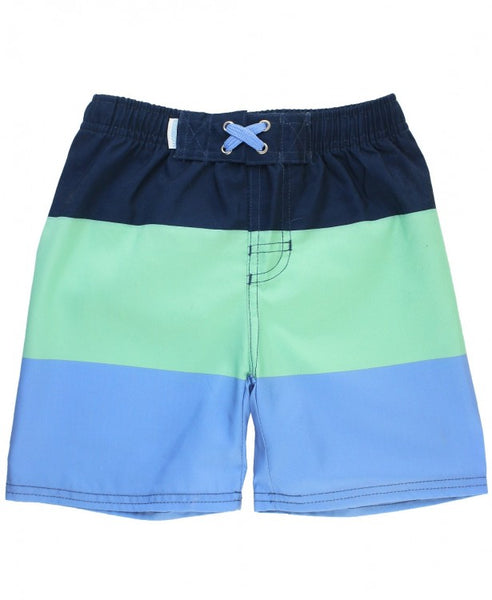 Mint & Blue Color Block Swim Trunks (Toddler/Kids)