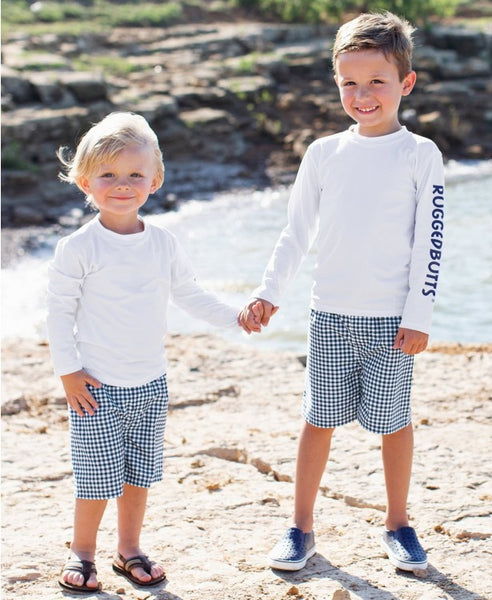 Navy Gingham Swim Trunks (Toddler/Kids)