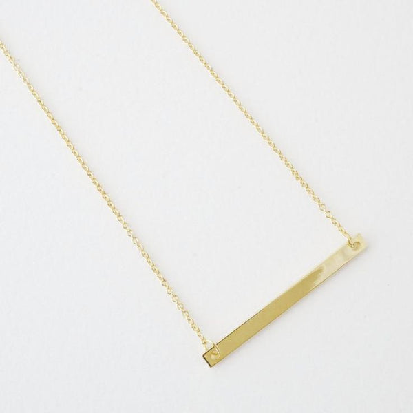 18k Gold Dipped Classic Bar Necklace