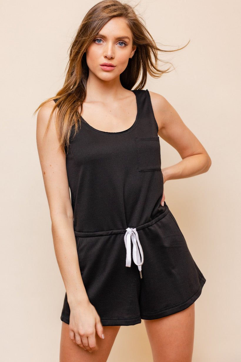 Sleeveless Knit Romper - Black