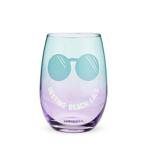 Resting Beach Face Stemless Wine Glass