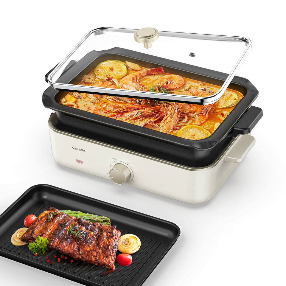 CalmDo Electric Foldaway Skillet Grill Combo CalmDo Electric Foldaway Skillet Grill Combo - calmdohome appliance calmdo