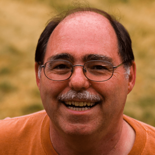 Man Balding Smiling Glasses Older