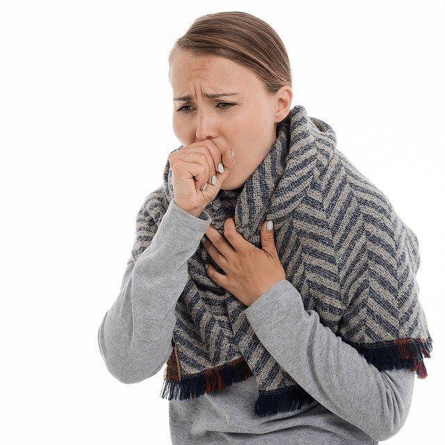 Woman Sick Sore Throat Coughing