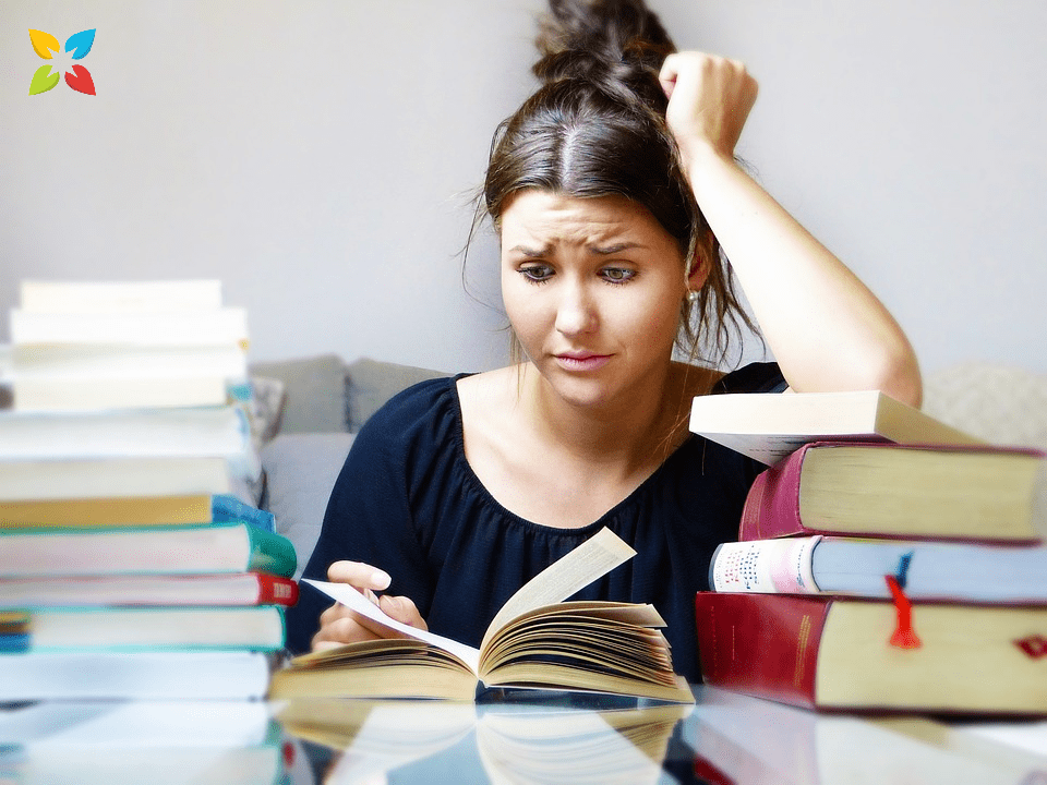Woman Reading Studying Stressed