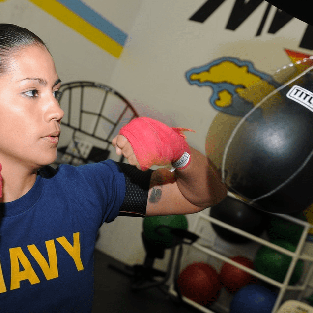 Navy Woman Speed Bag Boxing