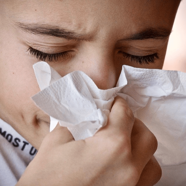 Child Boy Young Sick Sneeze Tissue Blow Nose
