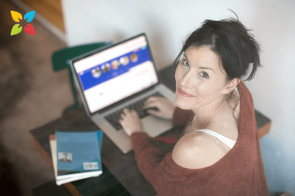 Woman Smiling Laptop Computer Working From Home