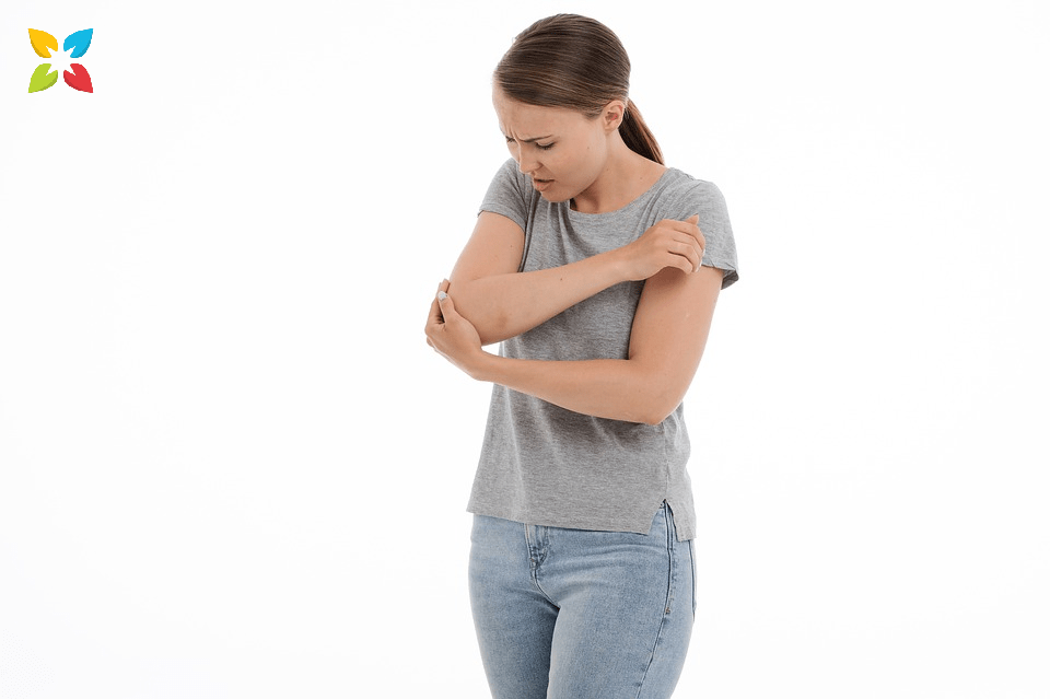 Woman Holding Elbow Joint Pain