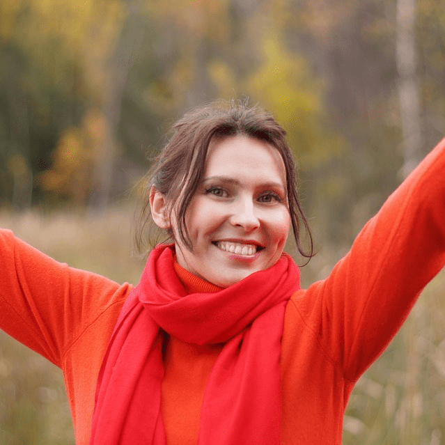 Woman Outdoors Smiling Arms Up