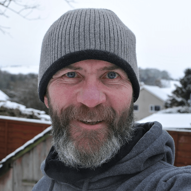 Man Beard Smiling Hat Cold Winter