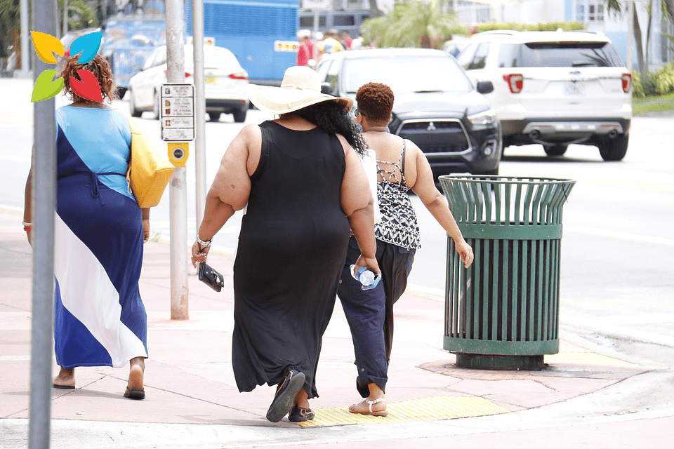 Obese Overweight Women Walking